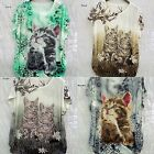 Cat Kitten Loose Tunic Lady Green Brown Black Gray Crystals Studded Short Sleeve
