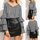 Women Casual Plaid V-Neck Top Jumper Pullover Shirt Tee Loose T-shirt Blouse New
