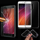 Tempered Glass Film&Ultra Slim Clear TPU Protective Case Cover For Xiaomi Phones