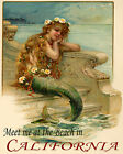 POSTER LITTLE MERMAID MEET AT THE BEACH CALIFORNIA TRAVEL VINTAGE REPRO FREE S/H