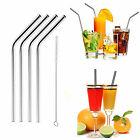 4 Stainless Steel Metal Reusable Cocktail Drinking Straws & 1 Cleaner Brush Set