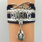 New 1pcs COWBOYS Jewelry fashion Leather Infinity rugby Charm Bracele