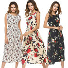 Sexy Women Summer Casual Long Bohemia Sleeveless Floral Print Beach Party Dress