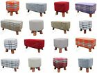 Check Chenille Foot Stool Rest Pouffe Padded Seat Wooden Legs Large Ottoman NEW