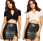Womens Wrapover Ruched Crop Top Ladies Choker V Neck Short Sleeve New 6-14