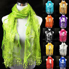 Infinity Scarf Fashion Women's Long Lace Floral Scarf Tassel Scarves Wrap Shawl