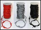 SILVER, RED OR BLACK FAKE BARBED WIRE WOVEN REAL LEATHER CORD   1M 2M 5M 10M 20M
