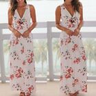 Women Summer Beach Sleeveless V-Neck Floral Print Maxi Long Party Prom Dresses