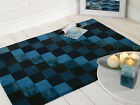 SORENTO METROPOLITAN MIX OF BLUES GEOMETRIC SQUARES CHUNKY THICK WOOL RUG