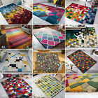 ILLUSION MODERN GEOMETRIC SHAPES COLOURFUL BRIGHT THICK 100% WOOL PILE SOFT RUG