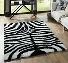 SMALL- EXTRA LARGE ZEBRA BLACK WHITE THICK SOFT RUG MODERN SHAGGY NON SHED RUGS