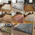 LARGE THICK SOFT MODERN SHAGGY GEOMETRIC ROYAL NOMADIC 4cm DEEP PILE RUG
