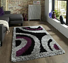 SMALL -EXTRA LARGE THICK SILVER GREY BLACK AUBERGINE SHAGGY SOFT PILE TRENDY RUG