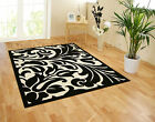 SMALL - EXTRA LARGE BLACK & IVORY WHITE MODERN DAMASK AREA FLOOR RUG