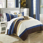 Cathy Microsuede Blue, Brown, Ivory 7 Piece Comforter Bed...