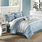 Torino Pleated & Pieced Blue 11 Piece Comforter Bed In A Bag Set