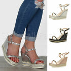 Womens ladies wedge high heel platform studded strappy summer sandals shoes size