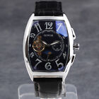 NEW Rectangle Face Moon Phase Automatic mechanical PU Leather Strap Men Watches
