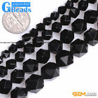 Natural AAA Grade Black Agate Polygonal Faceted Round Beads For Jewelry Making