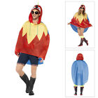 Smiffys Adults Parrot Party Poncho Kagool Waterproof Festival Coat With Bag