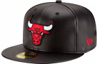 New Era 5950 CHICAGO BULLS Faux Leather Black Red Cap NBA Baseball Fitted Hat on eBay