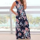 Women Sleeveless Floral Print Maxi Dress with Pockets Summer Holiday Party Dress