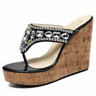 Women's Gorgeous With Diamante Weave Flip Flop Summer Wedge Sandals