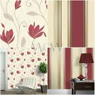 VYMURA SYNERGY RICH RED CREAM GLITTER WALLPAPER - STRIPE, FLORAL, PLAIN