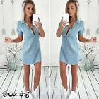 Women's Lady Summer Short Sleeve Loose Denim Blouse Casual Tops T-Shirt Dress