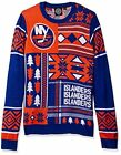 Klew NHL Men's New York Islanders Patches Ugly Sweater, Blue/Orange