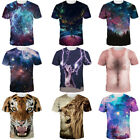Stylish Men's Womens 3D Galaxy Kitten Print Casual Short Sleeve Tee Tops T-Shirt