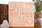 handmade personalised best friend friendship typography plaque sign gift present
