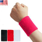 Wrist Sweat Bands Cotton Wristband Sweatband Sport Basketball Baseball Tennis US image