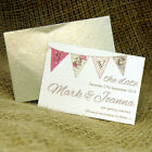 10 Bunting Themed Wedding Save The Date Fridge Magnets complete with Envelopes