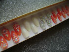 Hand Painted False Nails Full Cover Press on Nails Coral AB Crystals Glitter