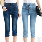 Womens Ladies High Waisted Blue Skinny Fit Jeans Stretch Denim Size 6-16 LTR1
