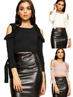 Womens Cold Shoulder Crop Top Ladies Long Bell Tie Sleeve Stretch New 6-12