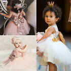 Flower Girls Kids Princess Wedding Bridesmaid Party Formal Gown Dress UK Stock