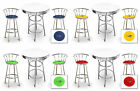FC560 IGUANA LIZARD THEME 3 PIECE BAR TABLE SET WHITE TOP & 2 CHROME BAR STOOLS