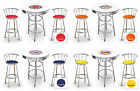 3 PIECE ROUND WHITE BAR TABLE & CHROME STOOLS SET VINTAGE GAS SHOP THEMED