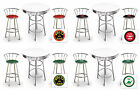 WHITE BAR TABLE & CHROME STOOL PUB TABLE  SET VINTAGE GAS AUTO SHOP THEMED