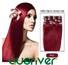 High Quality 100% Genuine Clip-in Remy Human Hair Extensions Smooth Burgundy