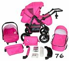 Classic Baby Pram Pushchair 2in1 or 3in1 stroller travel system – Pink 76