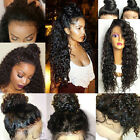 USA Pre Plucked Peruvian Virgin Human Hair 360 Lace Frontal Wigs Wave Full Wig #