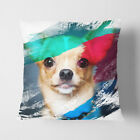 Faux Suede Throw Scatter Cushion Chihuahua Dog (2) V2