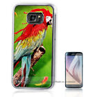 ( For Samsung S7 / S7 Edge ) Silver Back Case Cover A10269 Blood Perrot