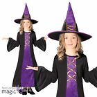 Childs Girls Black Purple Witch Halloween Book Week Fancy Dress Costume With Hat