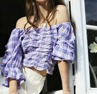 ZARA BOHO OFF THE SHOULDER RUFFLE TRIM LILAC CROPPED CHECKED TOP BALLOON SLEEVES