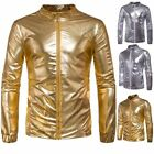 Mens Gold Silver Leather Winter Bomber Flight Jackets Outerwear Tops Club Coats