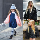 Toddlers Kids Girls Faux Fur Cute Furry Shaggy Warm Jacket Coat Outerwear